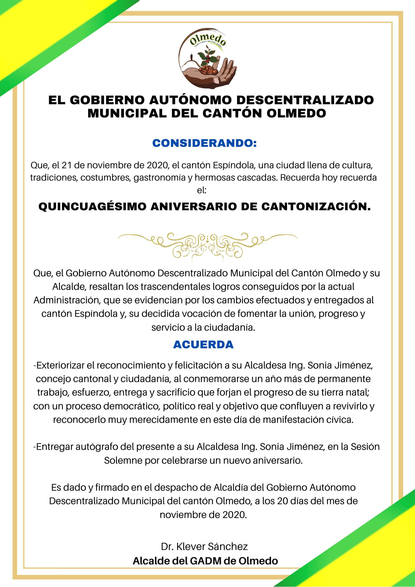 ANIVERSARIO DE CANTONIZACION ESPINDOLA